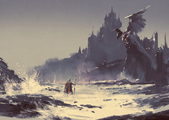 Poster Gray illustration painting of king walking through sea beach next to fantasy castle in background