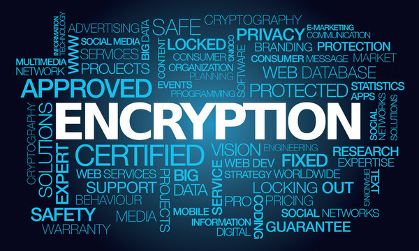 Encryption words tag cloud blue text cryptography word data protection security