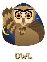 Illustration of cute cartoon owl