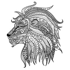 Hand drawn lion coloring page.