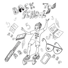 Hand drawn black and white sketch of a boy on a skateboard and school supplies and the words Back to school.