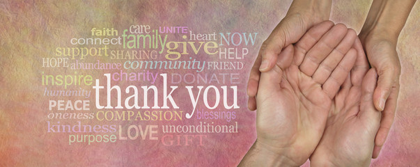 Fund Raising Campaign Website Header saying Thank You - Female hands cupped around male cupped hands on parchment effect background with a word cloud surrounding the word Thank You