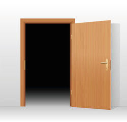 Wide open door to a dark unlit room. Vector illustration.