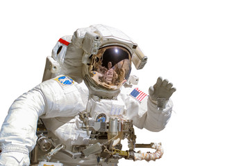 Close up of an astronaut isolated on white background - elements of this image are provided by NASA