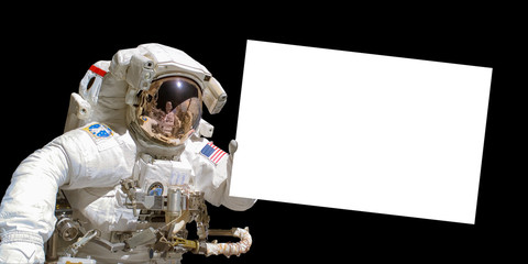 Acrylic Prints Nasa Astronaut in space holding a white blank board - elements of this image are provided by NASA
