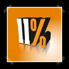 3D Prozentangabe und Prozentzeichen in Weiß und Orange mit Spiegelung