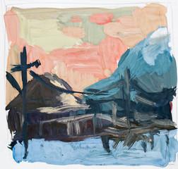 Village, watercolor sketch