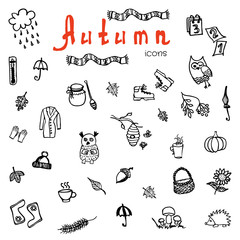 Set of doodle autumn icons - vector