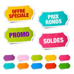 Étiquettes soldes et promotion