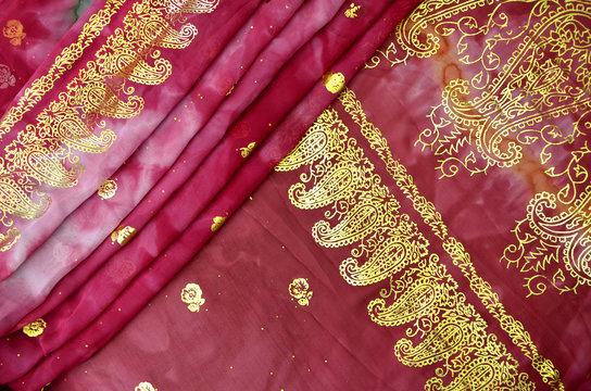 Magenta Pink Indian Sari with Gold Paisley Pattern Border