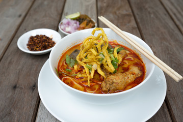 Egg noodle in chicken curry, Thai food, Kao Soi Kai