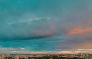 Dramatic sky urban landscape
