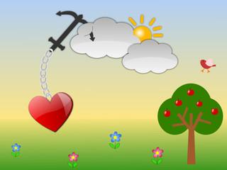 Cuore appeso a una nuvola tramite un ancora e catena. Immagine vettoriale. Prato,  cielo ed alberi come sfondo