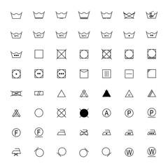 Set of laundry symbols, vector illustration