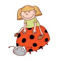 girl ride lady bug, vector illustration.