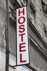 Sign outside the entrance to the hostel