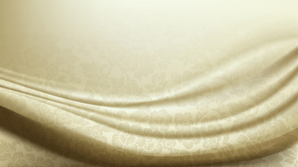 Vector of Patterned Ivory Silk Fabric Background