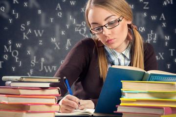 Nerd girl working homework