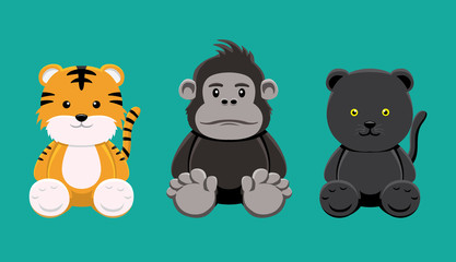 Tiger Gorilla Panther Doll Set Cartoon Vector Illustration