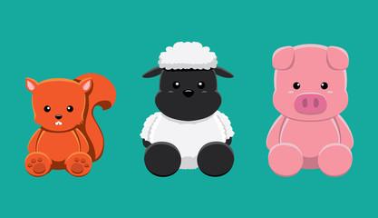 Squirrel Sheep Pig Doll Set Cartoon Vector Illustration