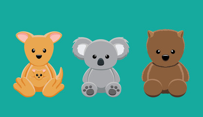 Kangaroo Koala Wombat Doll Set Cartoon Vector Illustration