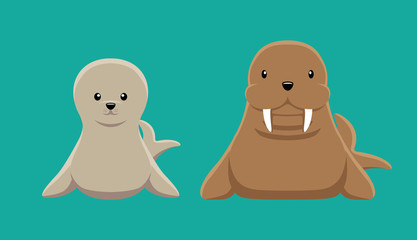 Seal Walrus Doll Set Cartoon Vector Illustration