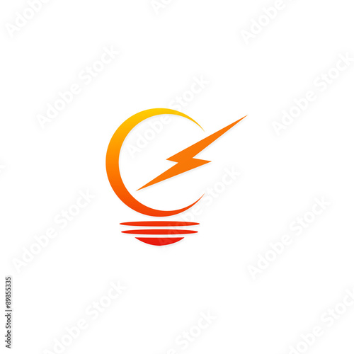 quotlight bulb electric sign vector logoquot stock image and