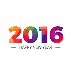 Happy new year 2016 Colorful triangle Text Design
