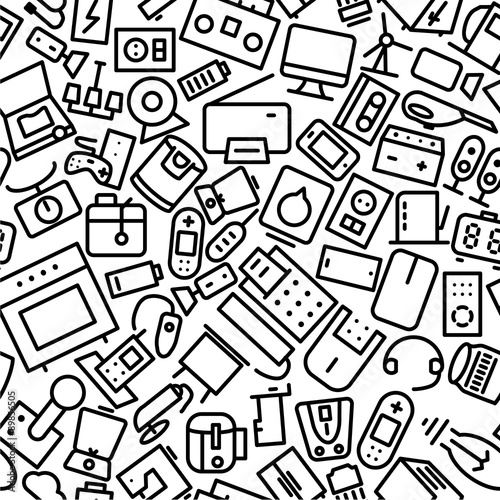 u0026quot electronics hand drawn outline icon pattern  u0026quot  stock image