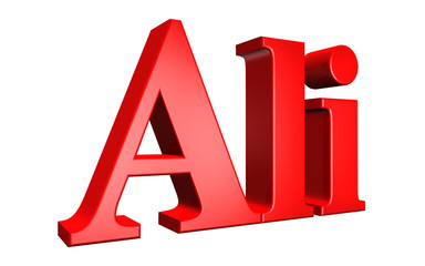 3D Ali text on white background