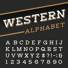 Western style retro alphabet vector font. Serif type letters, numbers and symbols on a dark background. Vintage vector typography for labels, headlines, posters etc.