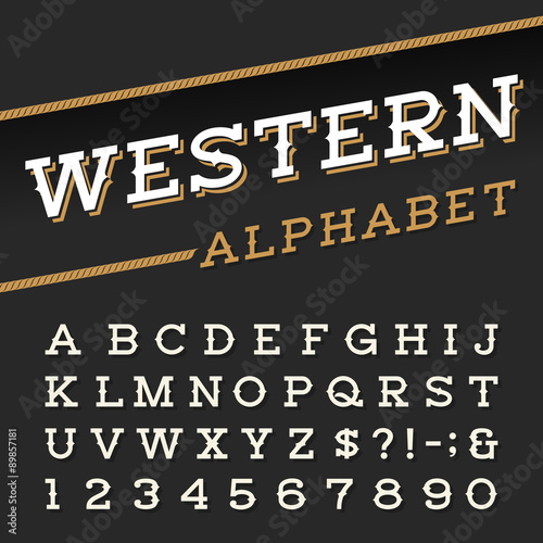 Western style retro alphabet vector font  Serif type letters
