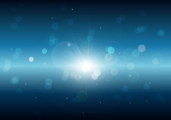 Bokeh, glowing light on black and blue abstract background vecto