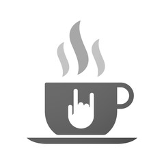 Cup of coffee icon  with a rocking hand
