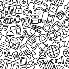 Media Hand Drawn Outline Icon Pattern