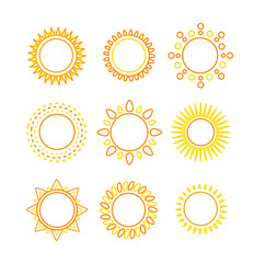 Sun set outline icon. Vector
