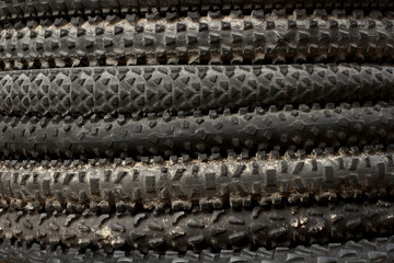 Pile of used mountainbike tyres