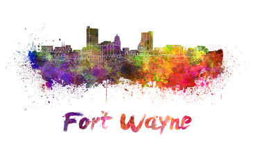 Fort Wayne skyline in watercolor