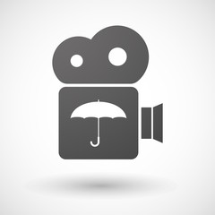Cinema camera icon with an umbrella