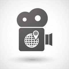 Cinema camera icon with a world globe