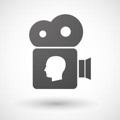 Cinema camera icon with a male head