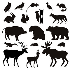 Vector Set of Black Tropical Animals and Birds Silhouettes.