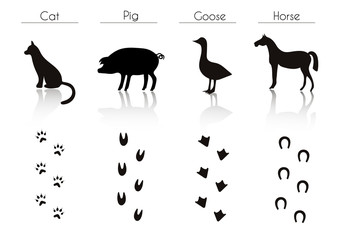 Set of Black Farm Animals and Birds Silhouettes: Cat, Pig, Goose