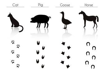 Set of Black Farm Animals and Birds Silhouettes: Cat, Pig, Goose