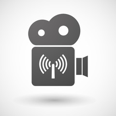 Cinema camera icon with an antenna