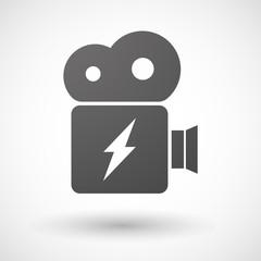 Cinema camera icon with a lightning