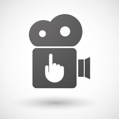 Cinema camera icon with a pointing hand