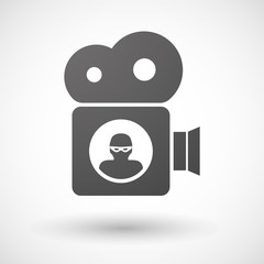 Cinema camera icon with a thief