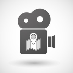Cinema camera icon with a map