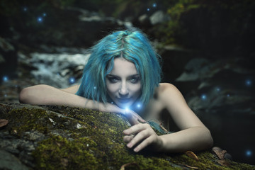 Dark dryad playing with forest spirits